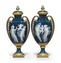 A PAIR OF MINTONS PATE-SUR-PATE PEACOCK-BLUE VASES AND COVERS