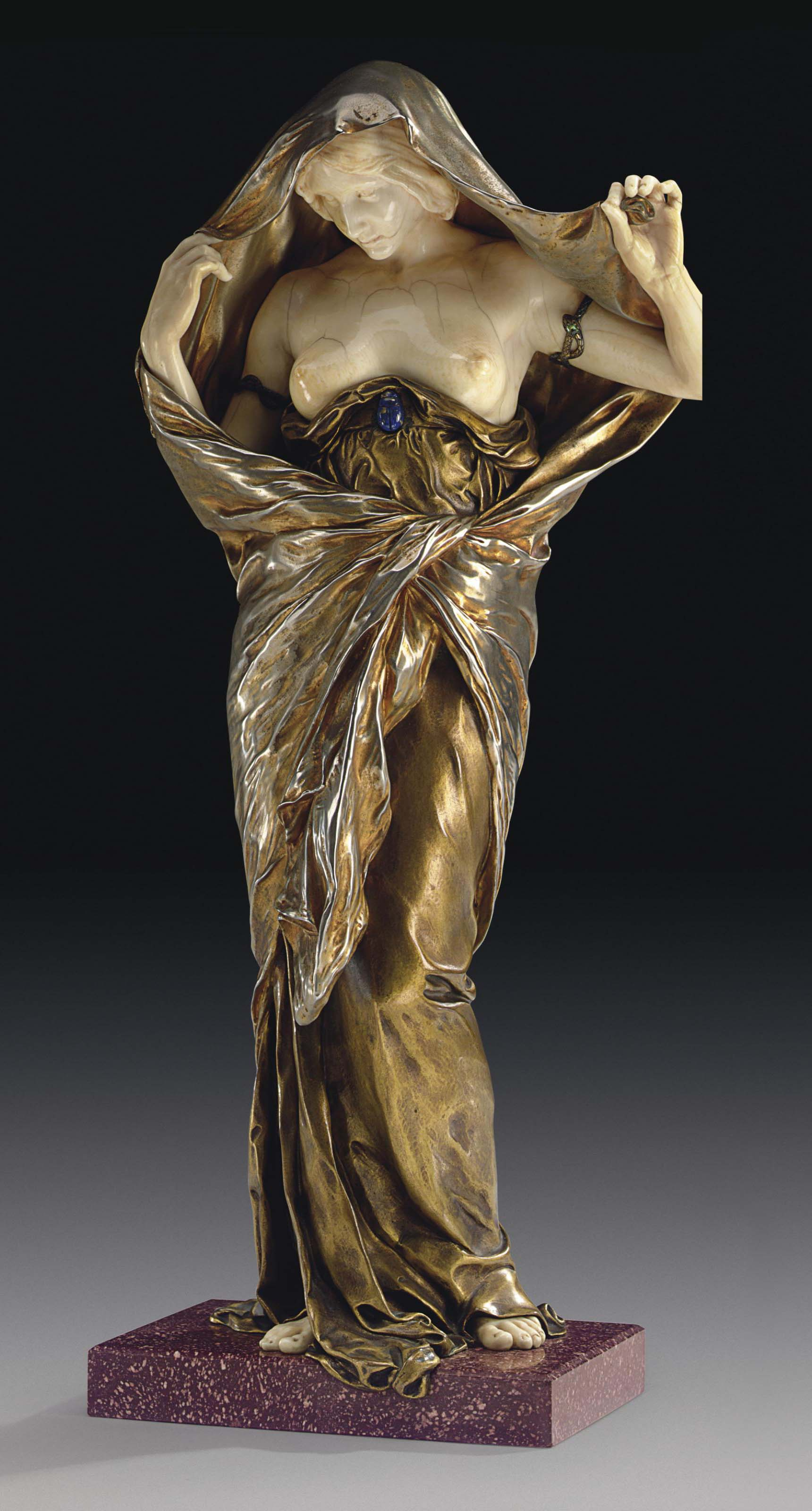 A FRENCH GILT-BRONZE, IVORY, LAPIS LAZULI AND PORPHYRY FIGURE ENTITLED 'LA NATURE SE DEVOILANT DEVANT LA SCIENCE' (NATURE REVEALING HERSELF BEFORE SCIENCE)