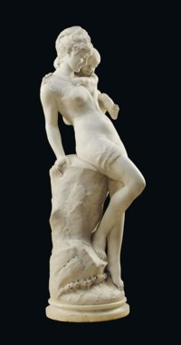 AN ITALIAN WHITE MARBLE FIGURE OF A BATHER AND CHILD