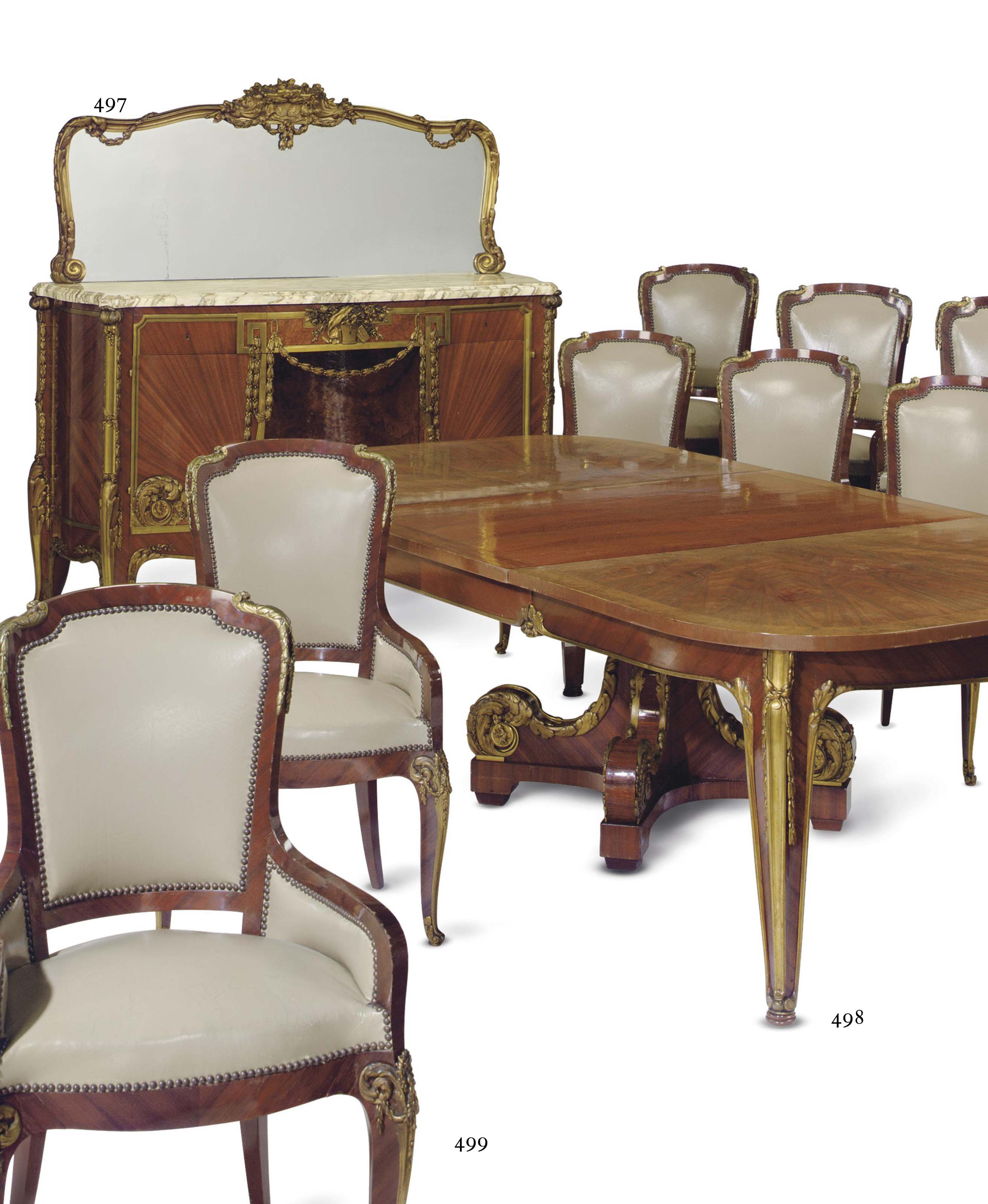 A FRENCH ORMOLU-MOUNTED SATINE AND AMBOYNA BUFFET AND MIRROR