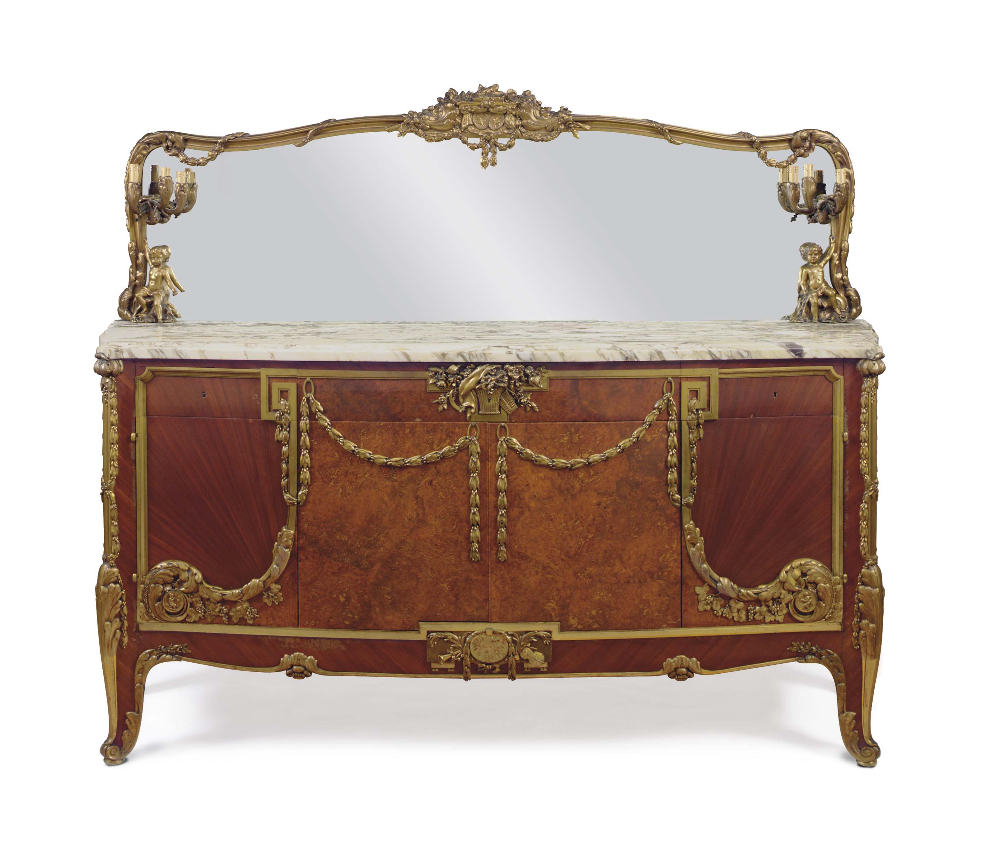A LARGE FRENCH ORMOLU-MOUNTED SATINE AND AMBOYNA BUFFET AND MIRROR