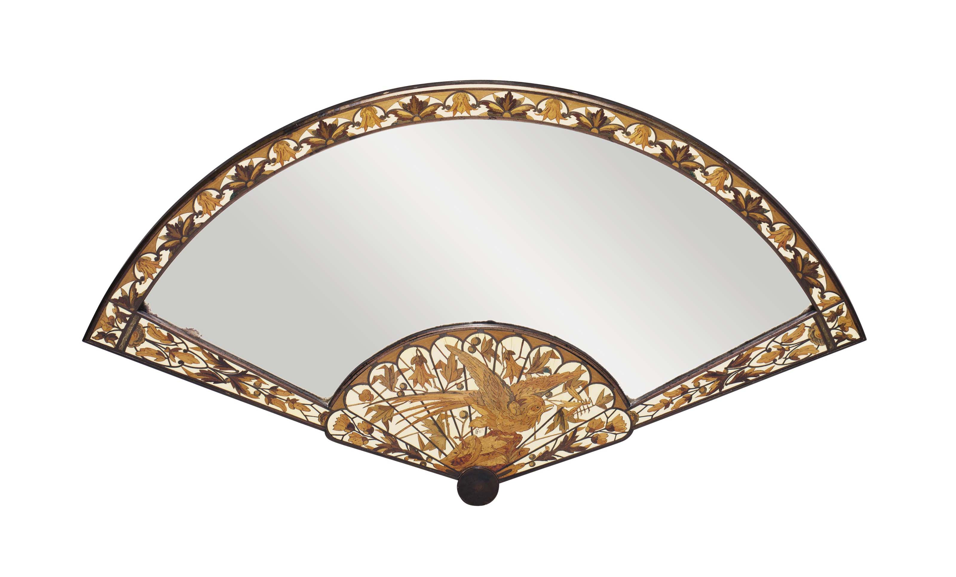 A FRENCH BRONZE, IVORY AND STAINED FRUITWOOD MARQUETRY TABLE MIRROR