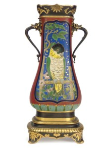 A PAIR OF FRENCH PARCEL-GILT, PATINATED BRONZE AND CLOISONNE ENAMEL VASES
