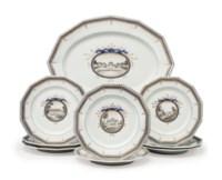 EIGHT NYMPHENBURG PORCELAIN 'PERLSERVICE' DINNER PLATES AND A LARGE PLATTER