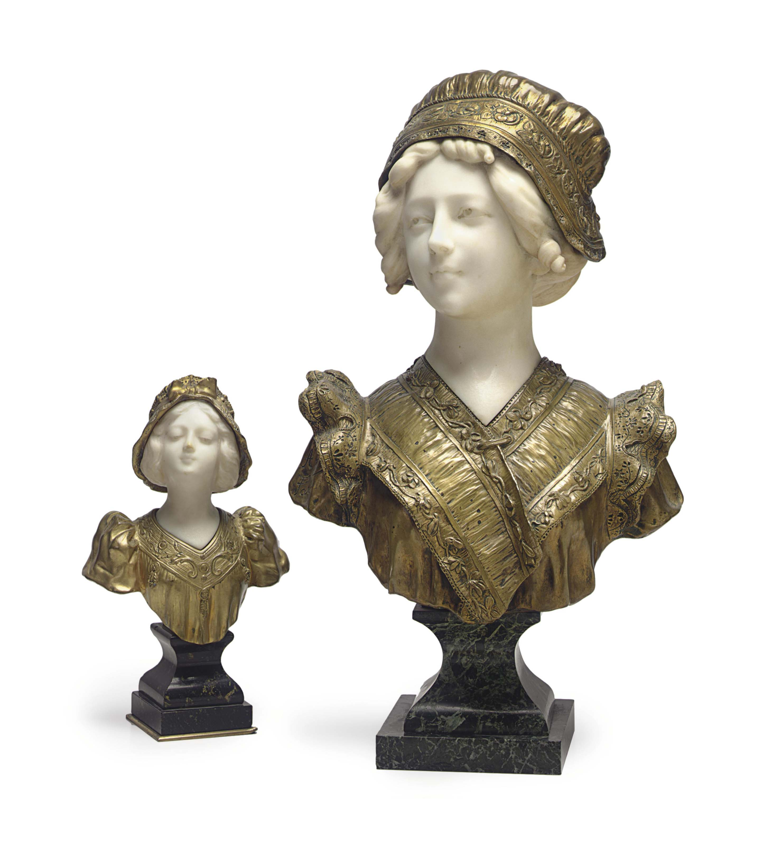 TWO ITALIAN ORMOLU AND MARBLE BUSTS