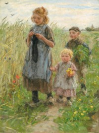 Three Children Walking in a Field