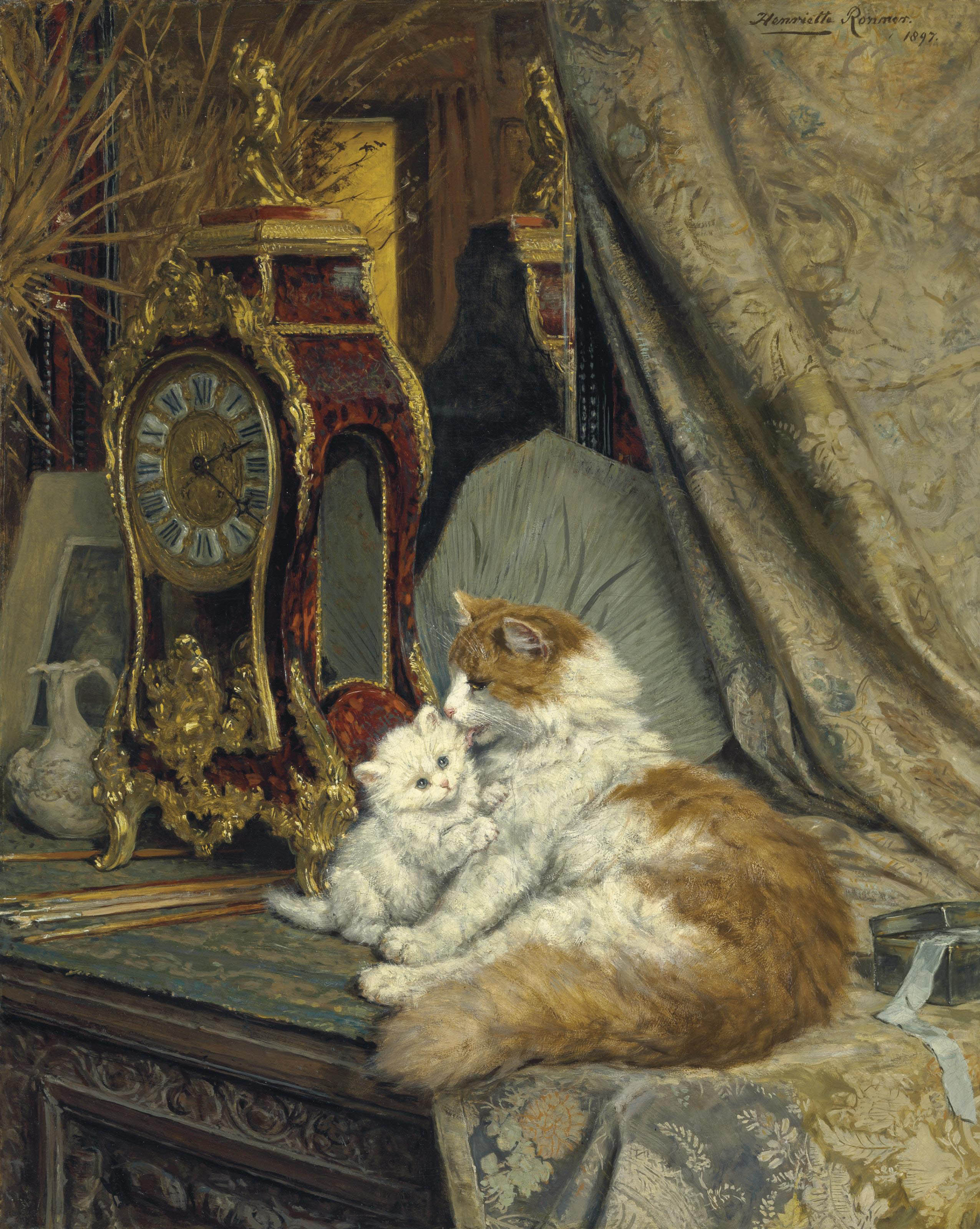 A Mother Cat and her Kitten with a Bracket Clock