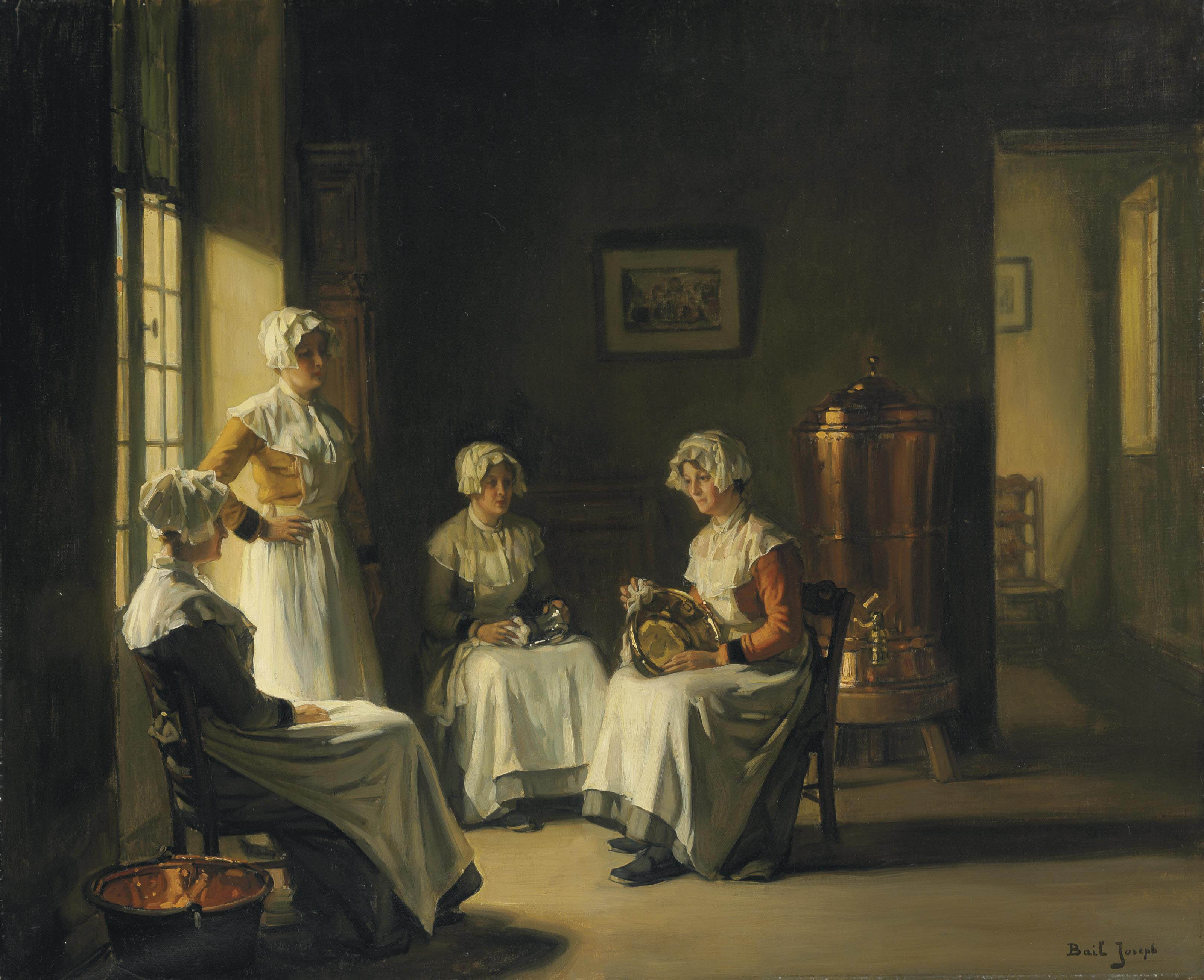 An Interior with Women Polishing Brass