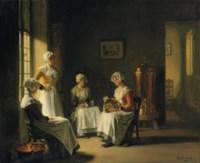 An Interior with Women Polishing Brass