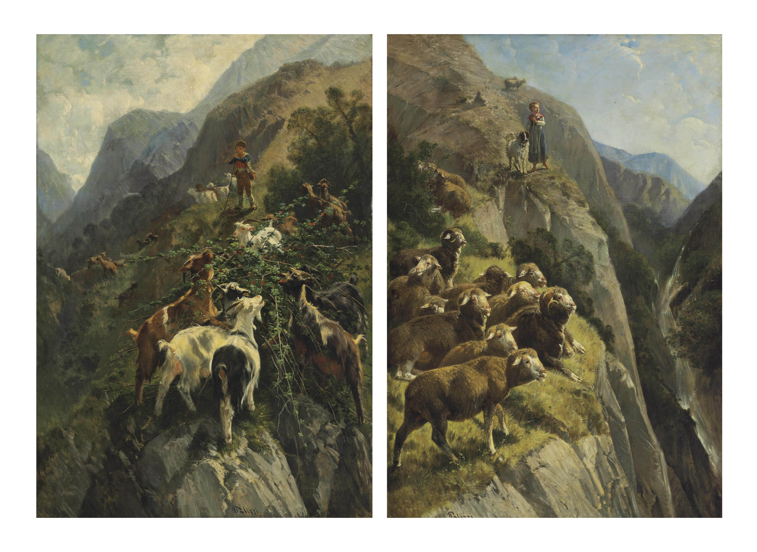 A Shepherdess with her Flock in the Mountains; and A Shepherd with his Goats in the Mountains