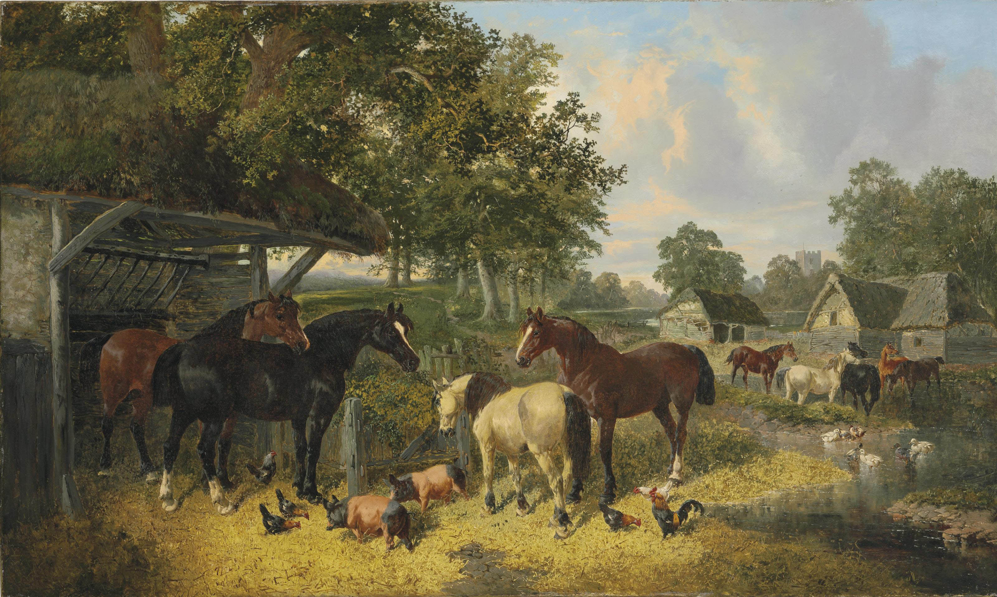 Horses, Pigs and Chickens in a Farmyard