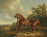 A Chestnut Hunter and his Groom in a Landscape