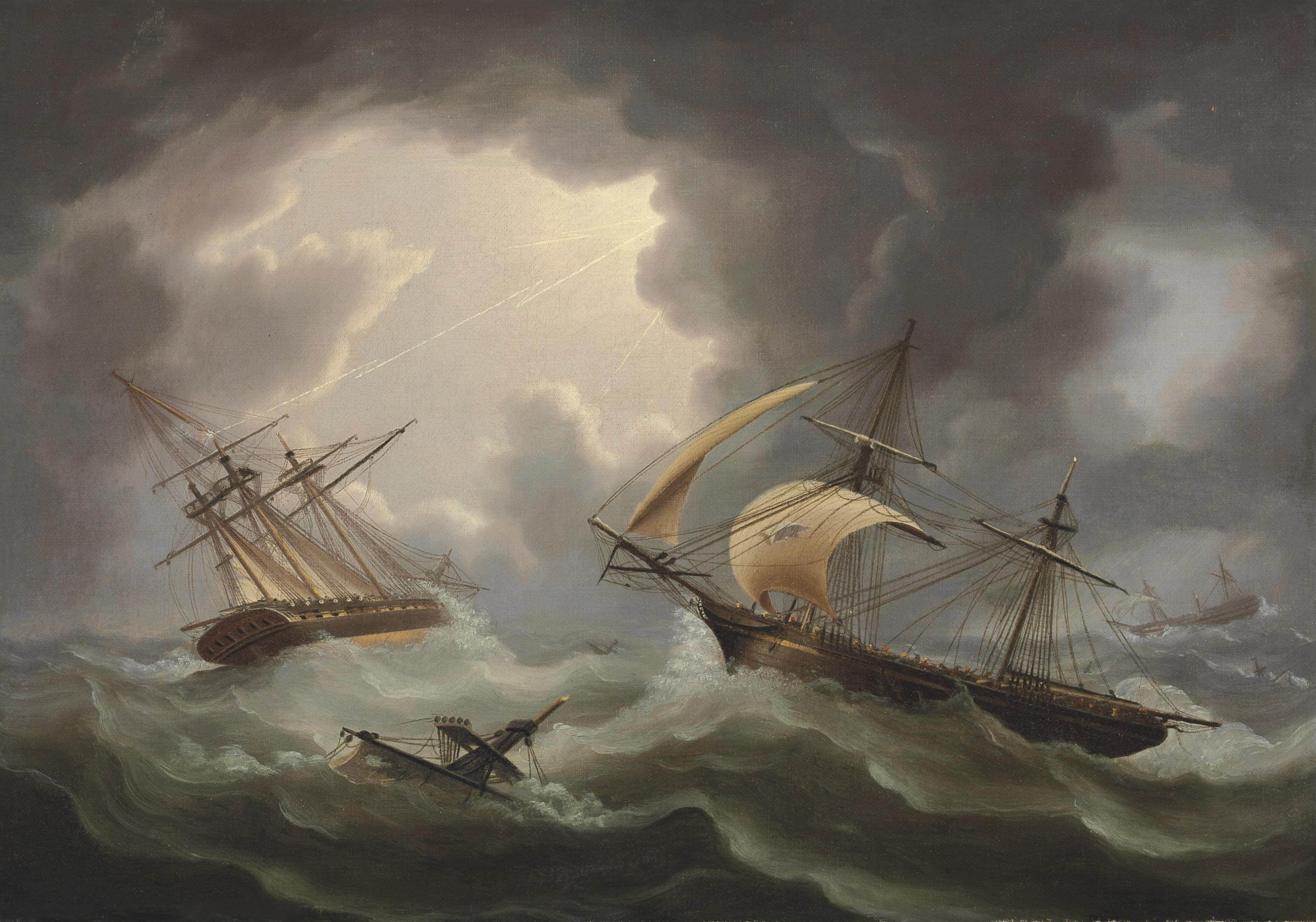 Loss of H.M.S.'s Blenheim and Java in a Hurricane off Rodriguez; the Brig Harrier Escaping, February 1807