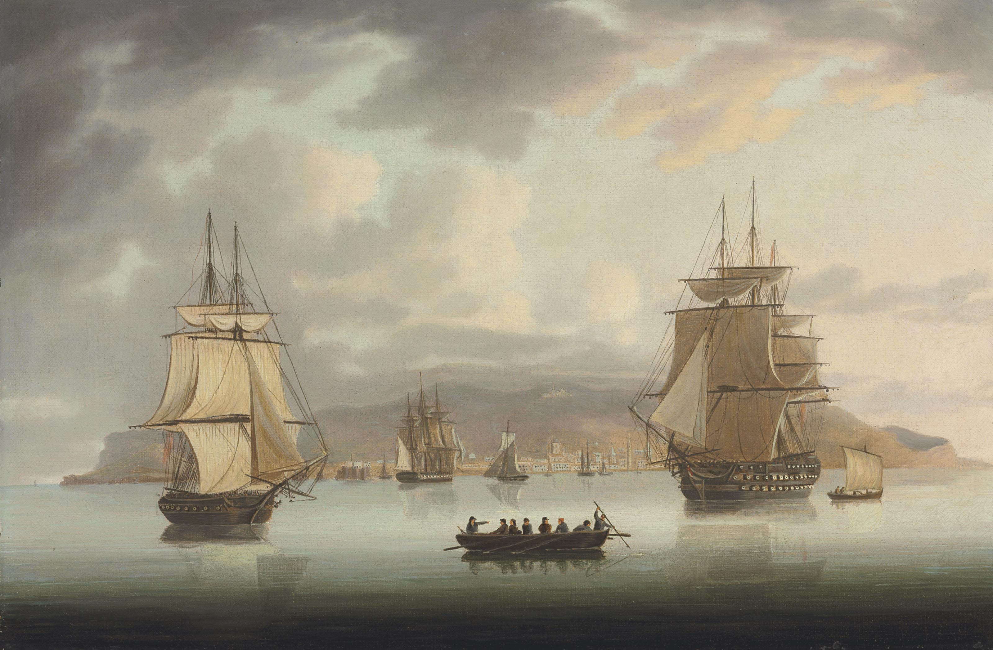 Funchal Roadstead, H.M.S. Blenheim with Greyhound and Harrier Outward Bound, 1805