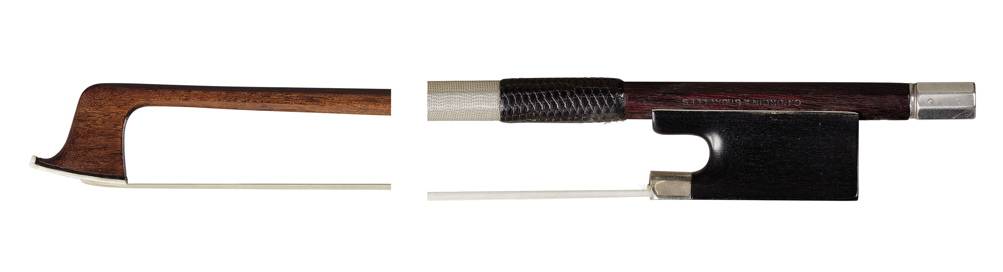 A SILVER AND IVORY-MOUNTED VIOLIN BOW