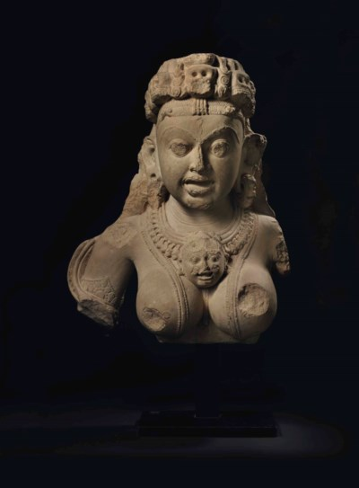 A rare buff sandstone bust of