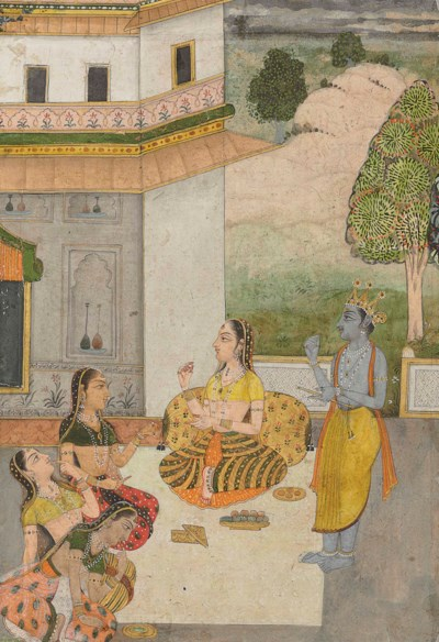 A painting of Krishna and ladi