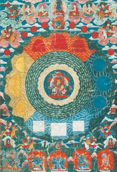 A thangka of a Vaishravana man