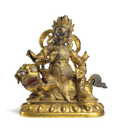 A gilt bronze figure of Jambha