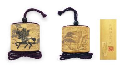 A three-case lacquer inro