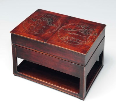 A Carved Wood Inkstone Case