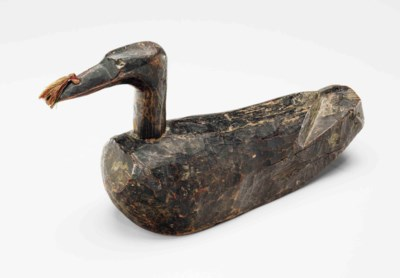 A Painted-Wood Wedding Duck (K