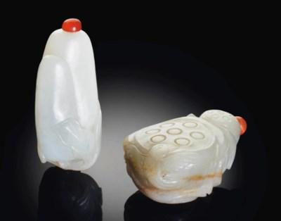 TWO WHITE JADE SNUFF BOTTLES