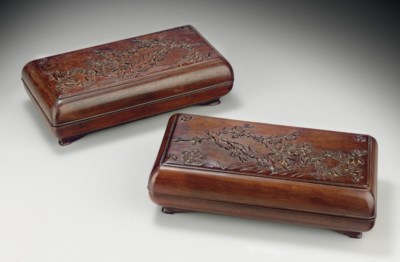 A PAIR OF CARVED ZITAN RECTANG