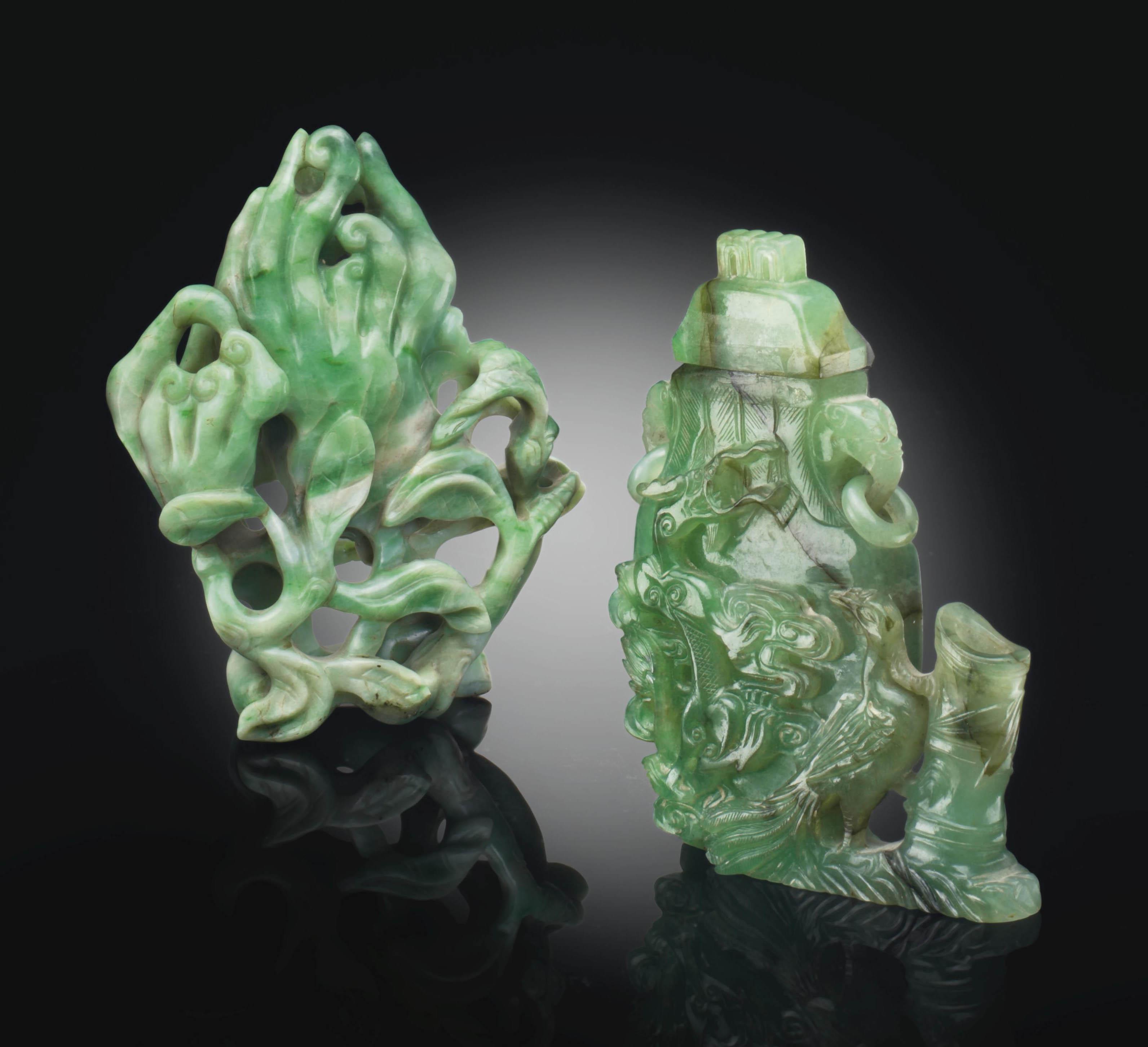 TWO CARVED GREEN JADEITE VASES
