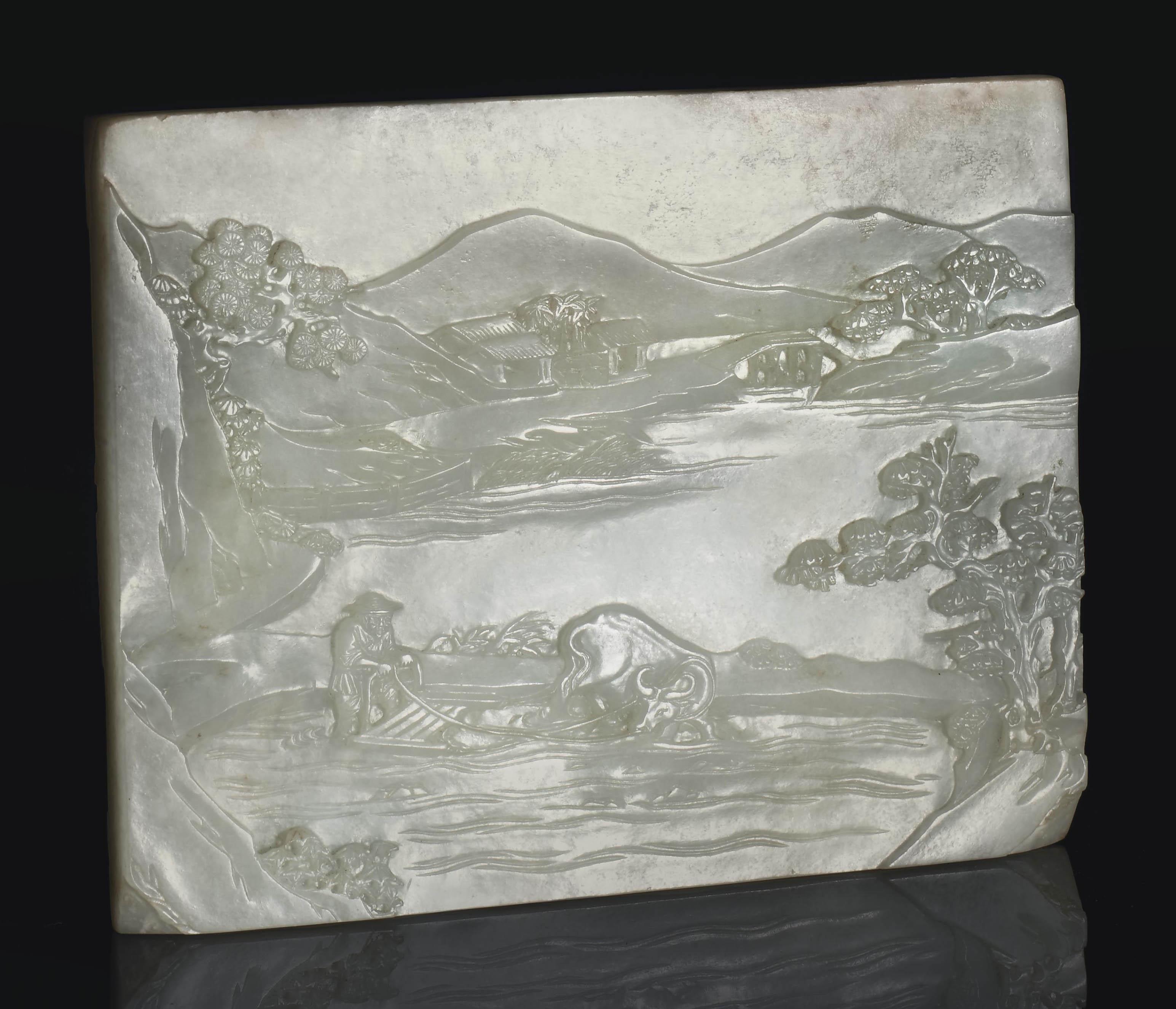 A PALE GREENISH-WHITE JADE REC
