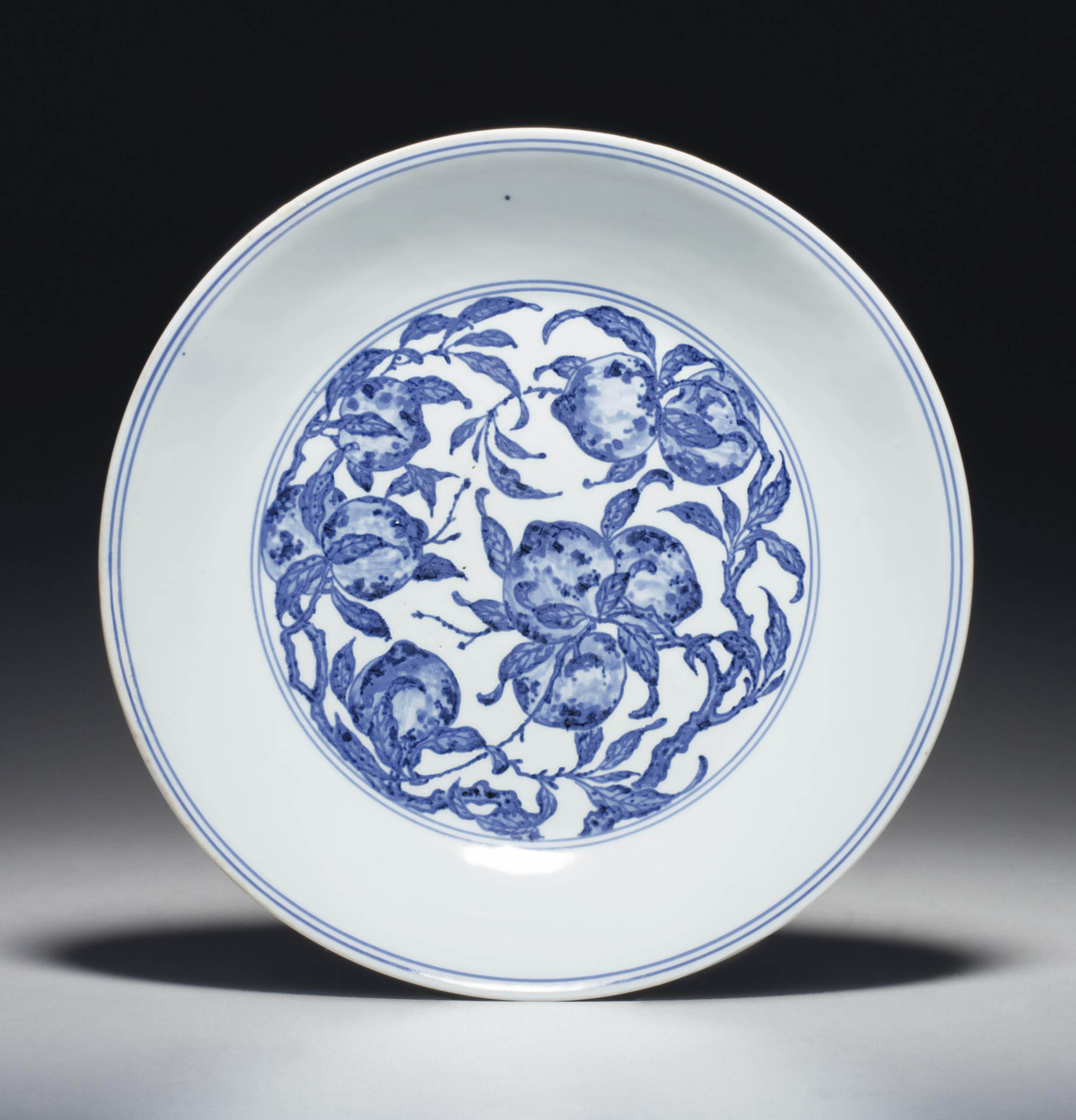 A MING-STYLE BLUE AND WHITE 'P