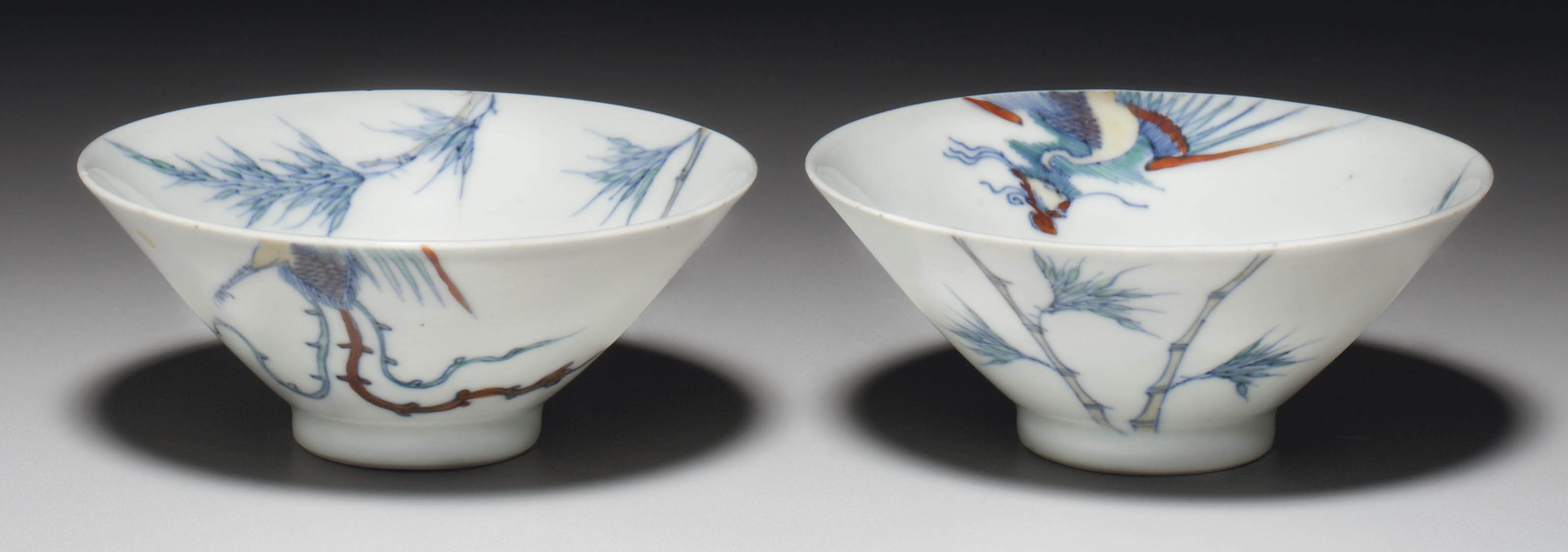 A PAIR OF DOUCAI CONICAL BOWLS
