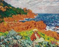 Suzanne Valtat sur le rivage d'Anthéor