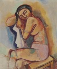 Sitzende Frau