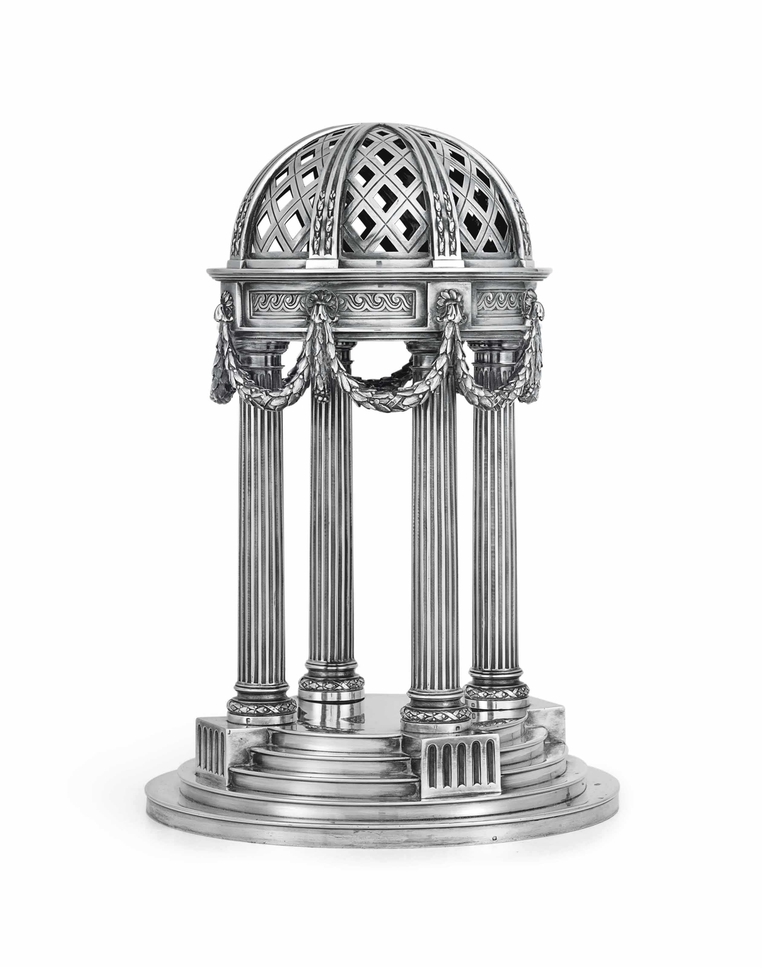 A FRENCH SILVER COLONNADE CENTERPIECE