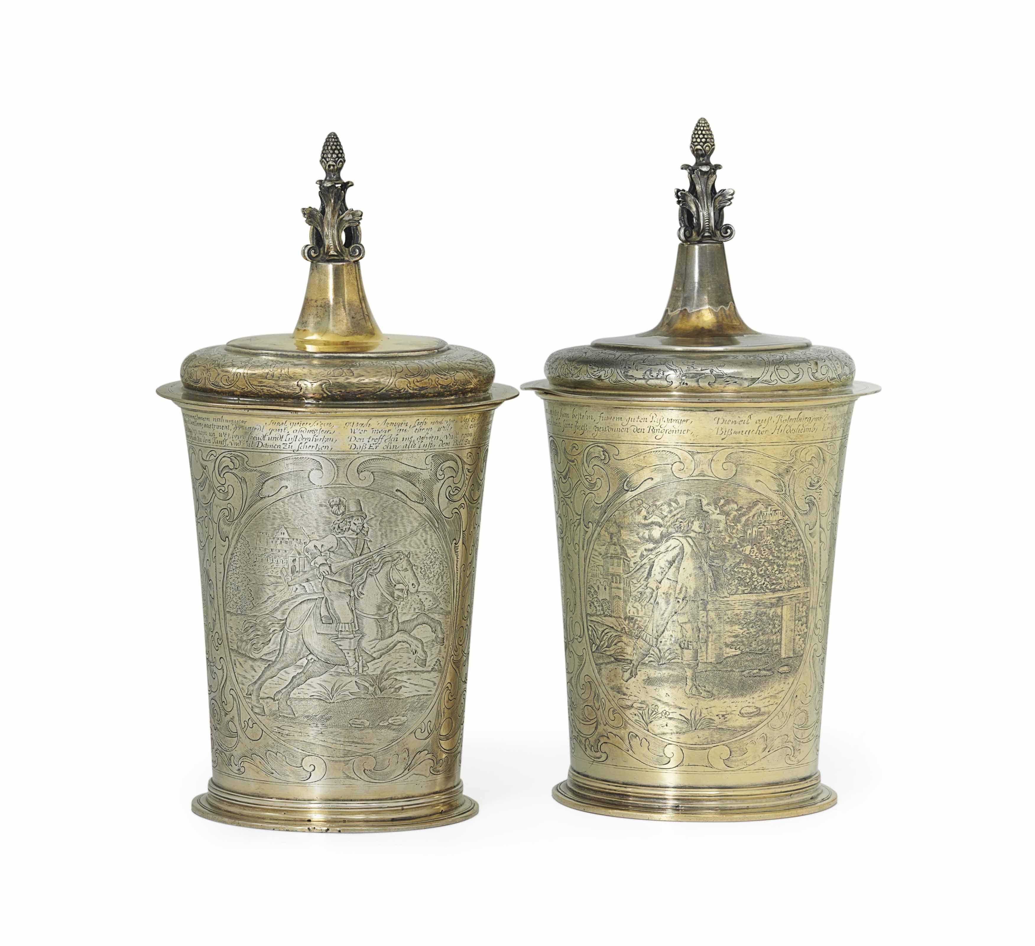 TWO LARGE GILT AND SILVERED ELECTROTYPES AFTER A BEAKER BY EVERT KETTWYCK, HAMBURG, CIRCA 1640