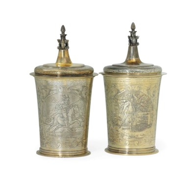 TWO LARGE GILT AND SILVERED EL