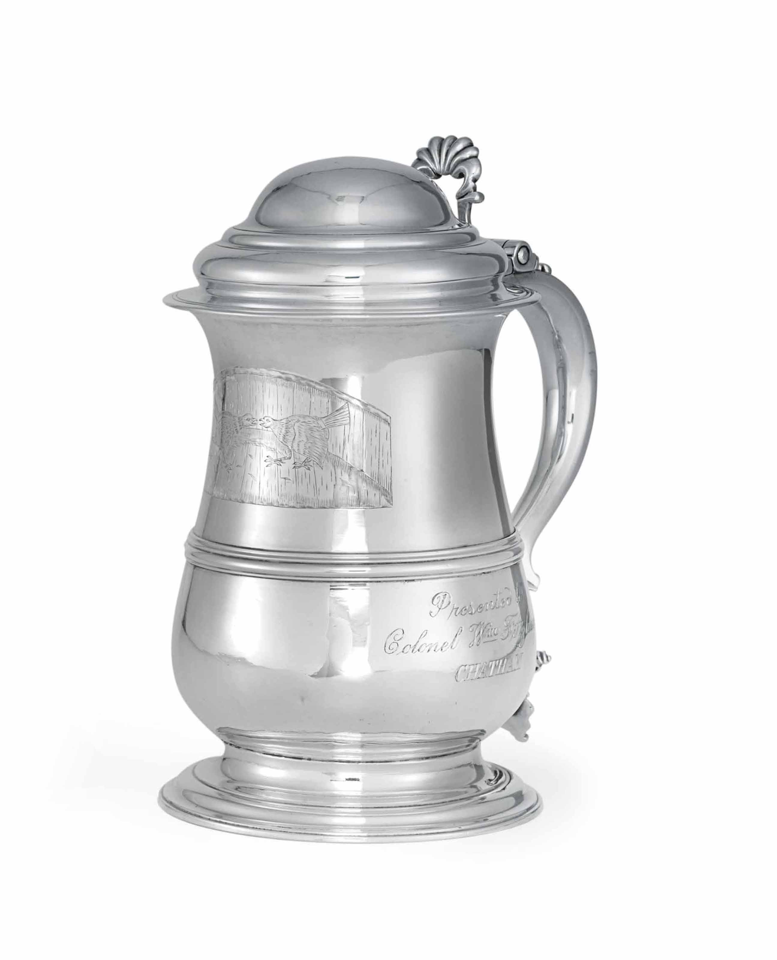 A GEORGE III SILVER TANKARD OF AMERICAN INTEREST