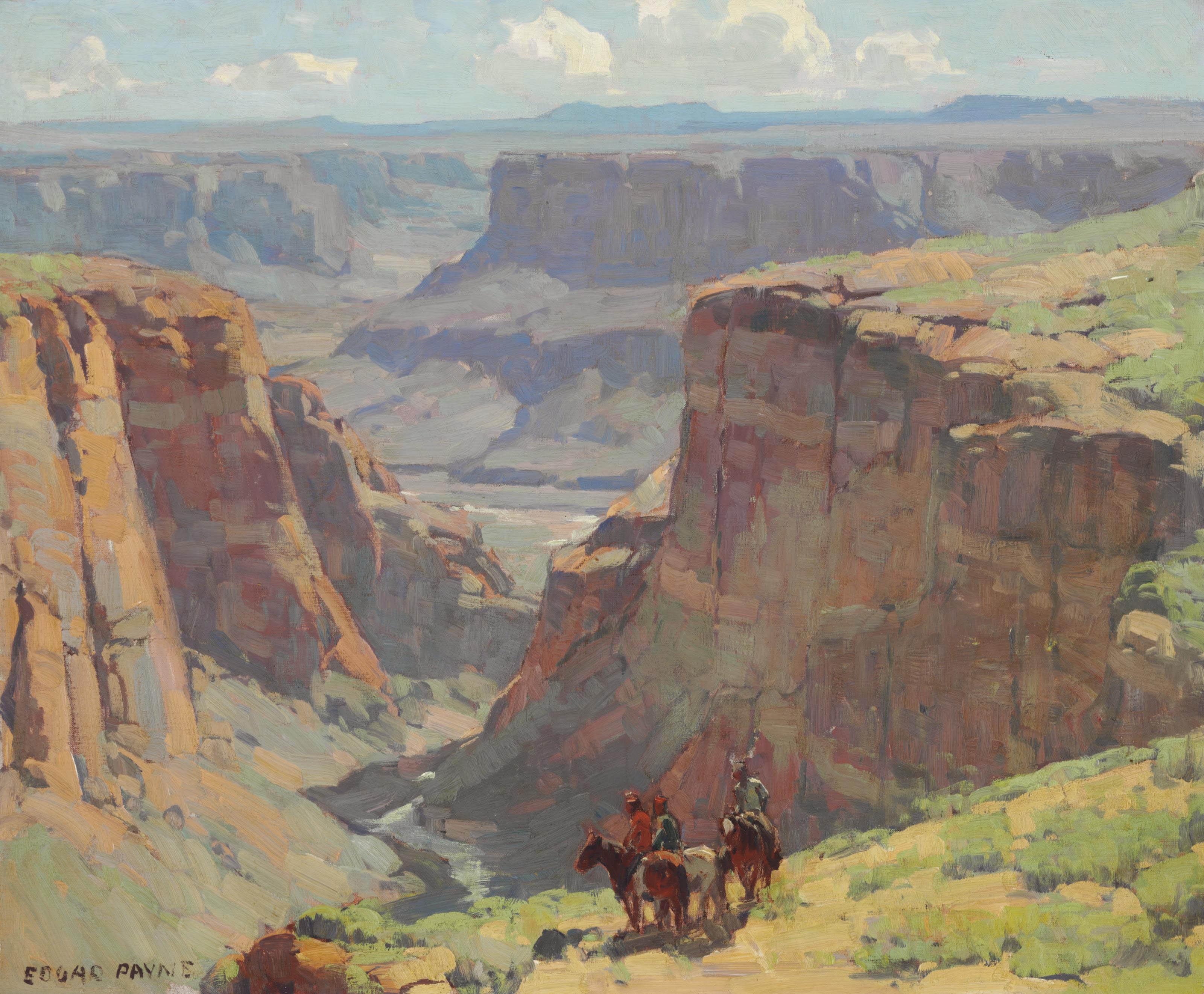 Edgar Alwin Payne (1883-1947) , Riders Overlooking Canyon ...
