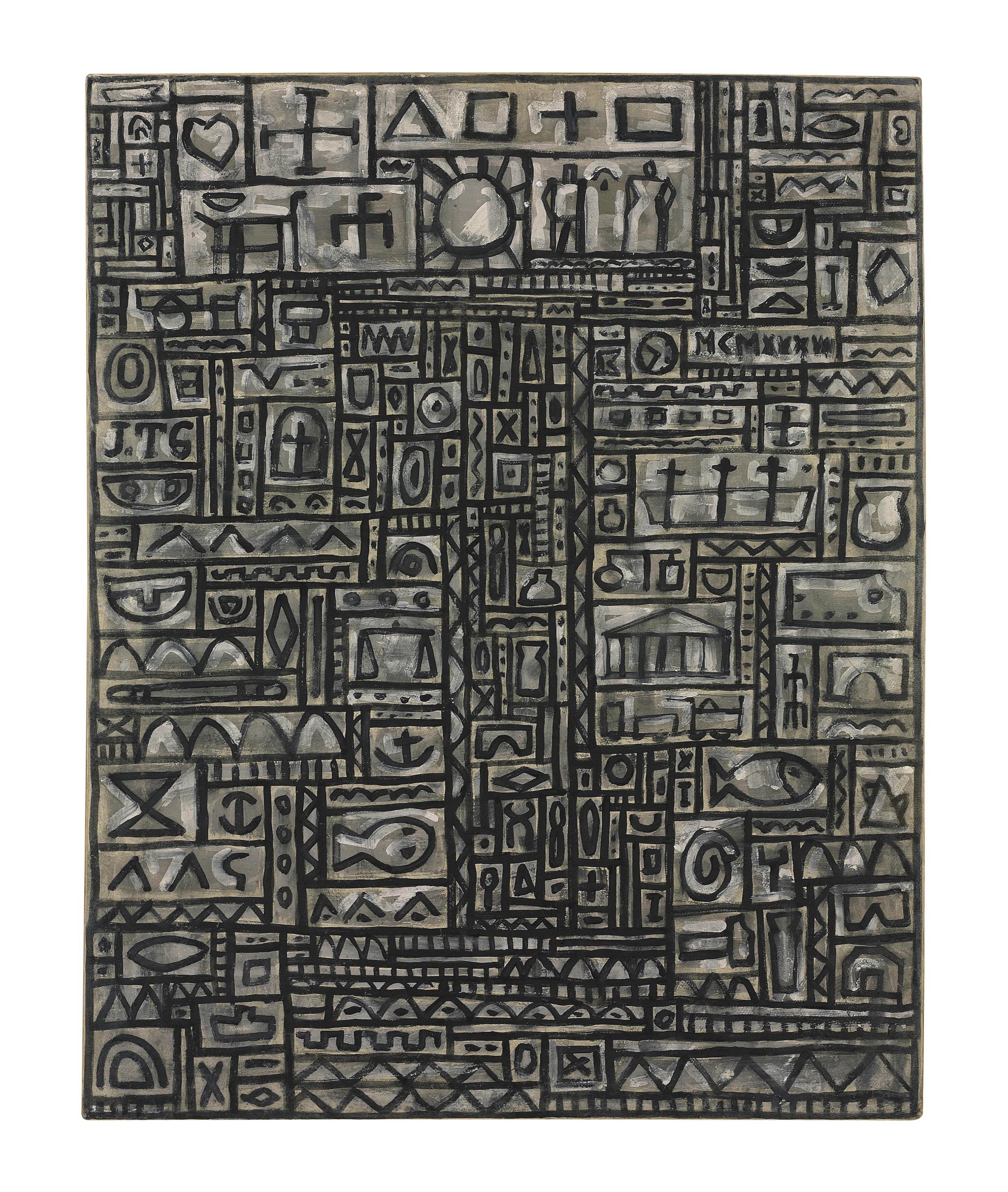 Grafismo universal sobre fondo gris