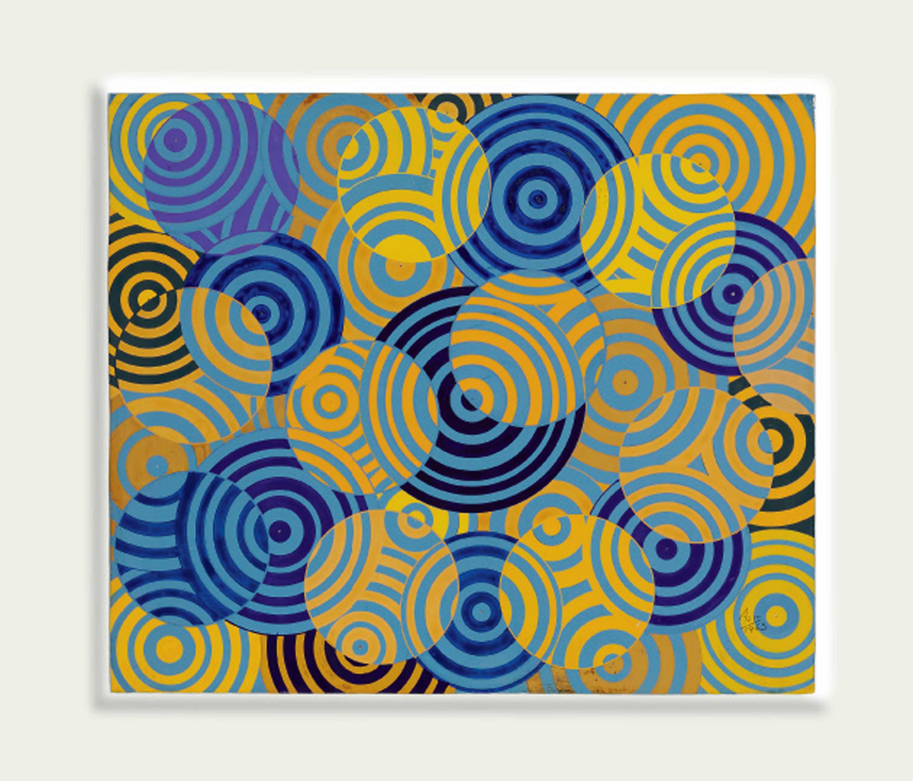 Interférences en bleu et jaune (No. 642)