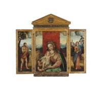 A triptych of The Virgin and Child with the young Saint John the Baptist; Saint John the Baptist on the left wing; Saint John the Evangelist on the right wing