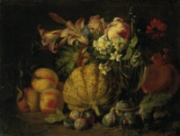 Peaches, melons, plums, figs, lillies, roses, and other flowers with a glass carafe