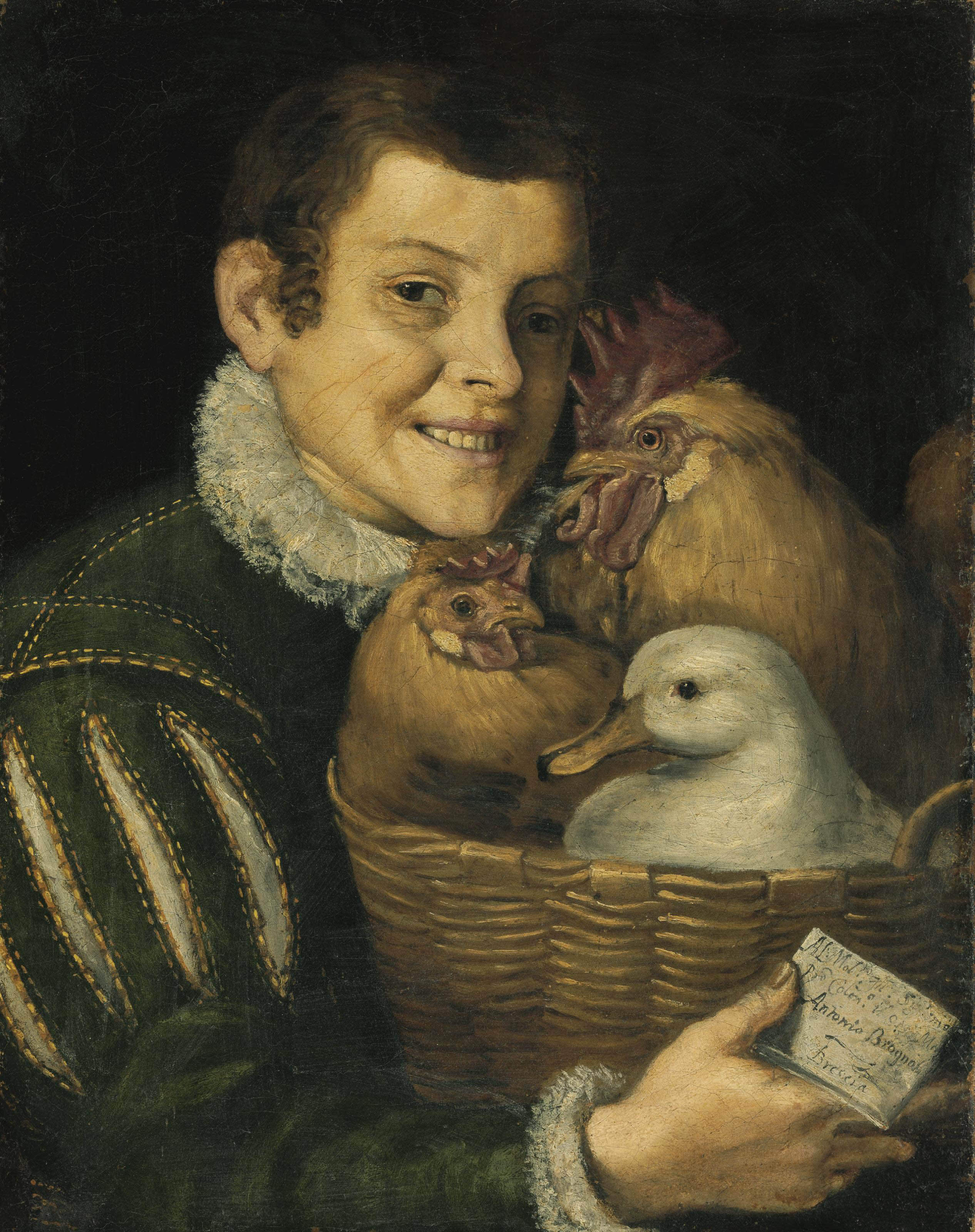 Boy with a basket of poultry