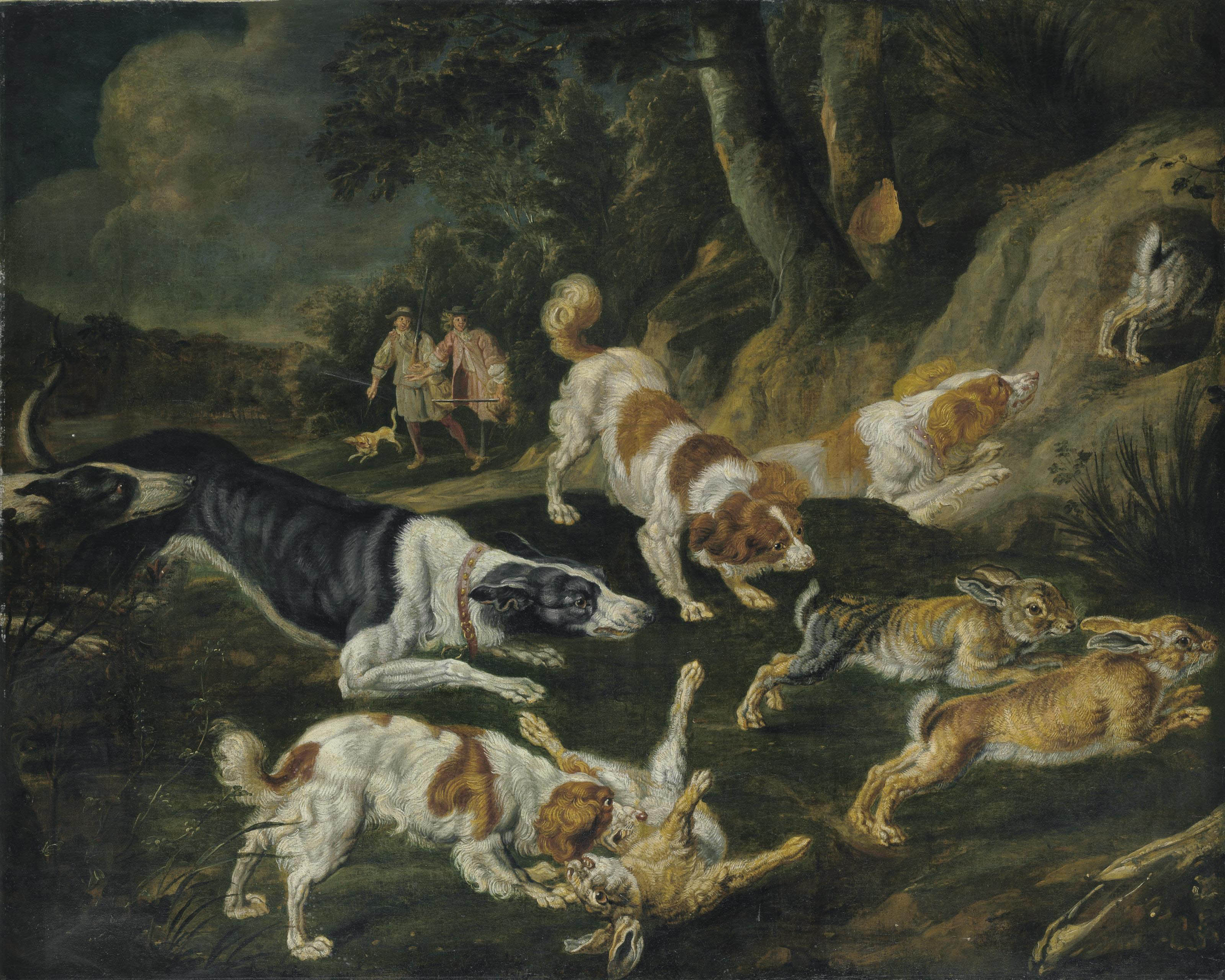 Hares brought down by hounds with two hunters in the distance