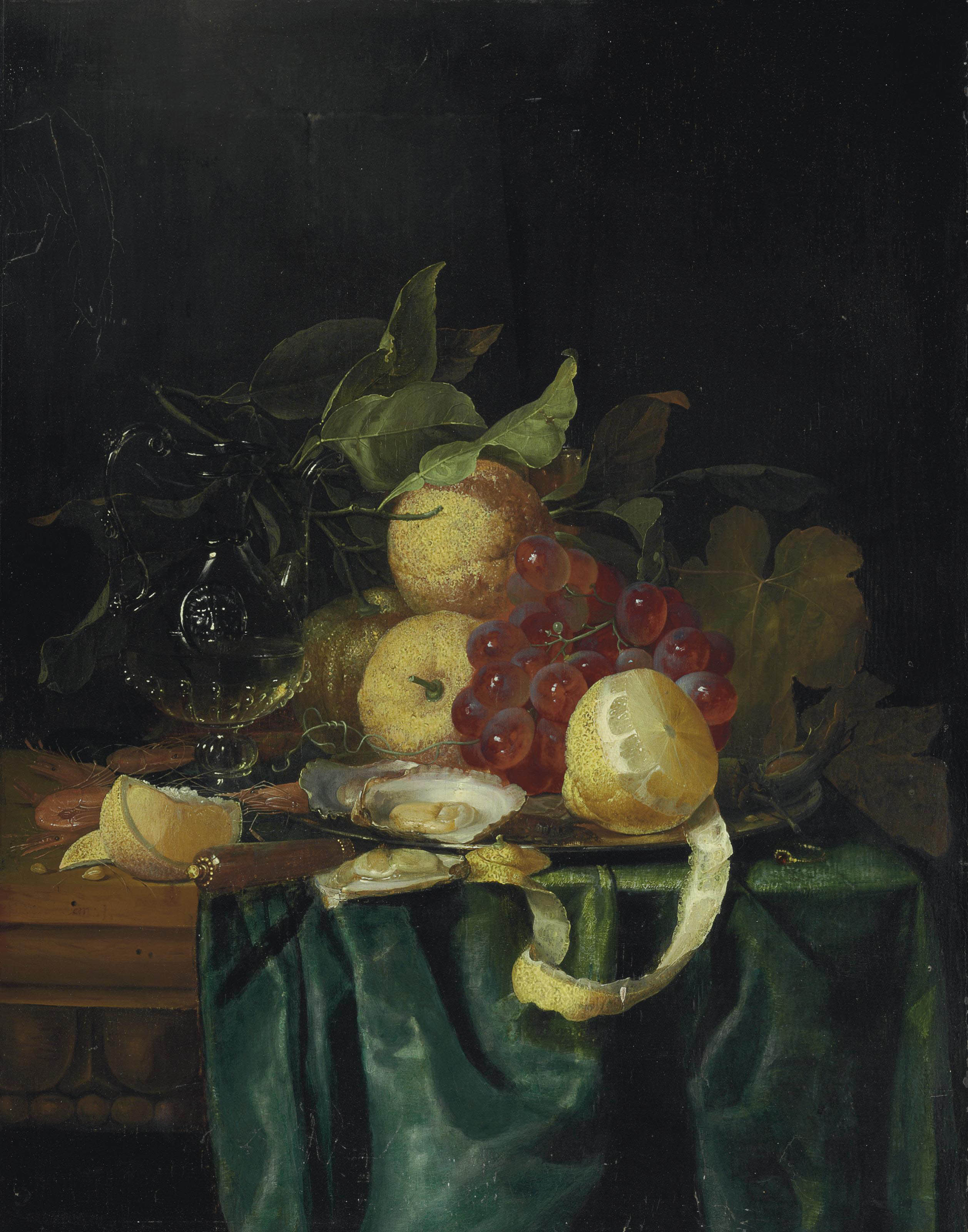 A Venetian jug, façon de Venise glass, lemons, grapes, oysters, shrimp and cobnuts on a silver platter and a knife and ring on a partially draped table