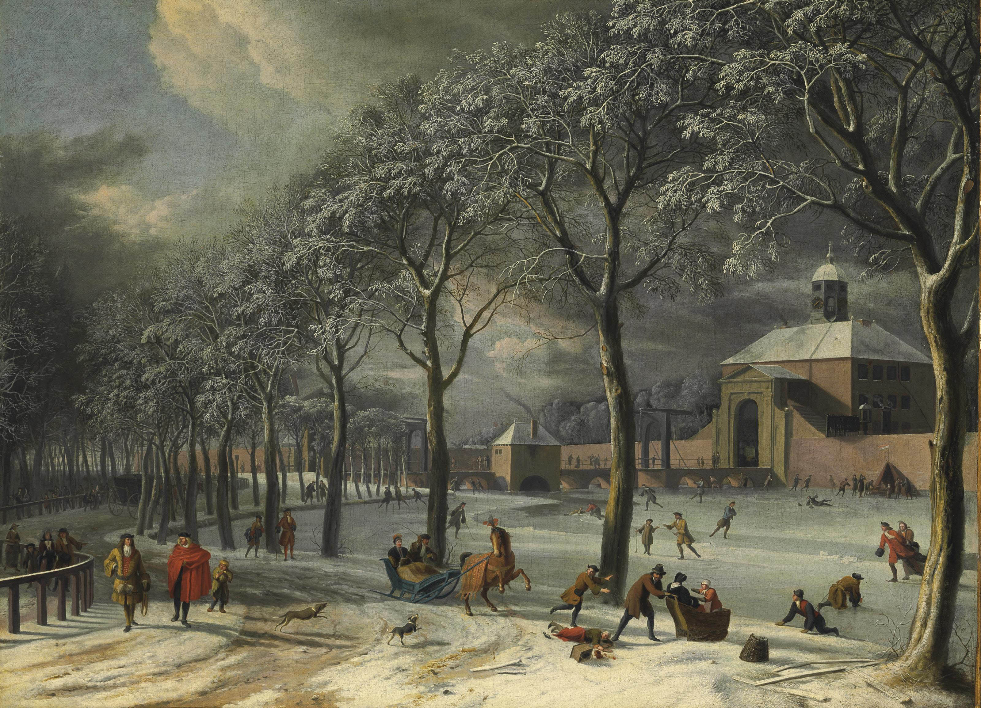 A winter scene of the Weesper poort, Amsterdam, with townsfolk in a park and a frozen canal with skaters and kolf players