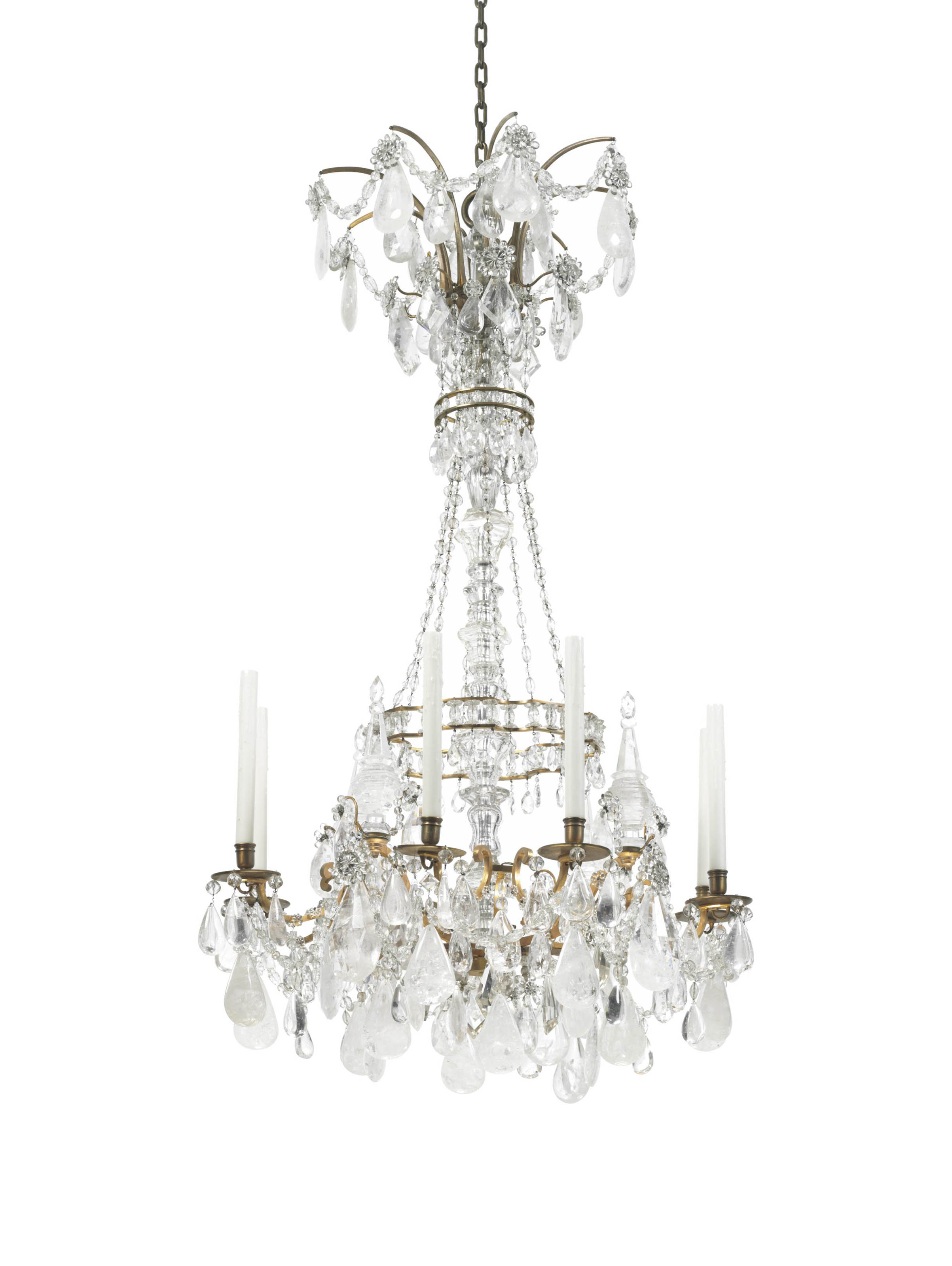cocovara pin chandelier our flute rock crystal bronze