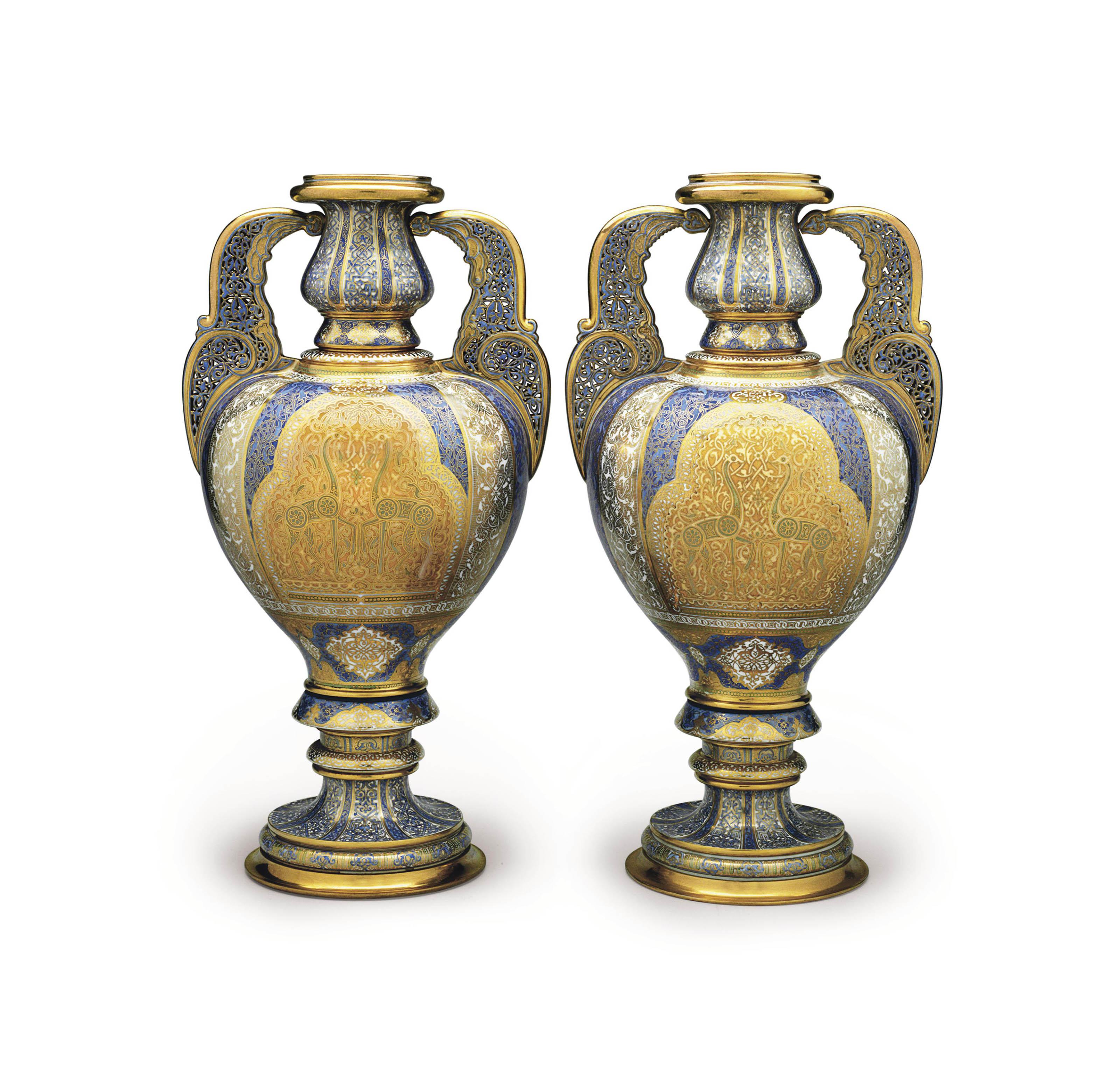 A PAIR OF SEVRES (LOUIS-PHILIPPE) PORCELAIN VASES (VASES 'ARABE FEUCHERE', 2EME GRANDEUR)