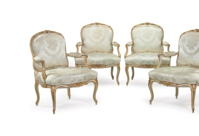 A SET OF FOUR FRENCH WHITE-PAI